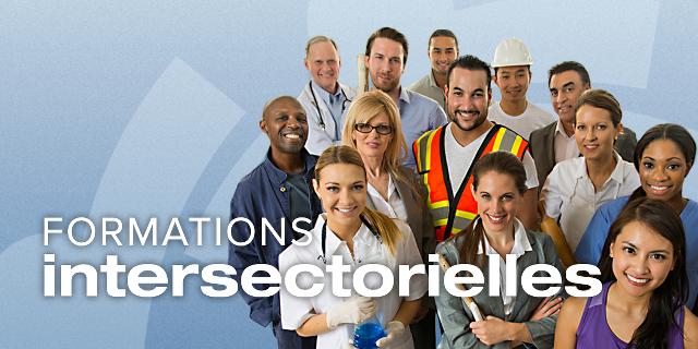 Affichette : « Formations intersectorielles ». Sur fond bleu pâle, une foule de dix personnes vêtues selon plusieurs professions (construction, docteur, etc.)